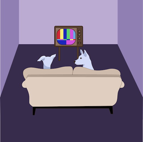A drawing of two white dogs sitting on a tan couch watching an old tube TV with rainbow lines on the screen inside of a purple room