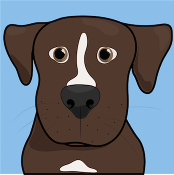 A cartoon drawing of a brown dog with a white blaze and a blue background showing the dogs whiskers