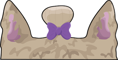 A drawing of the top of a dogs head with ears on each side and a purple bow between them holding a clump of hair