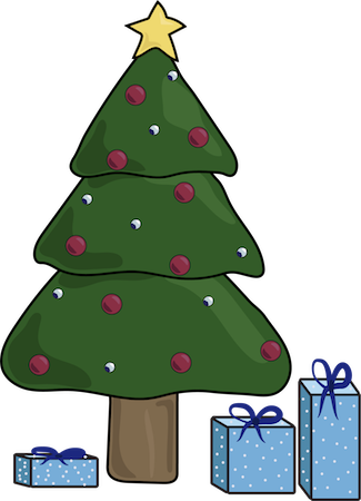 A decorated Christmas tree with wrapped blue presents under it