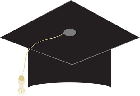 A black graduation hat with the tassel off to the left side