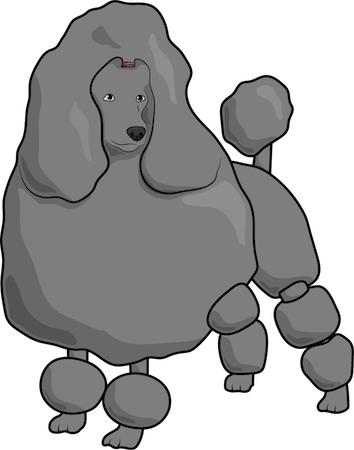 A drawing of a thick coated gray poodle with balls of its coat groomed all over it