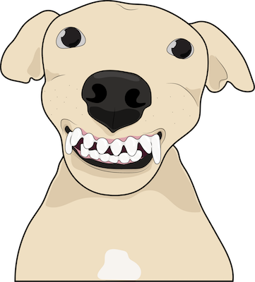 A cartoon graphic of a tan dog with big teeth and a big black nose, dark eyes and small ears