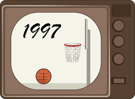 An old brown tube TV with a basket ball net and ball with the year 1997 on the screen