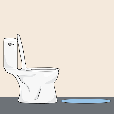A graphic of a white toilet with the seat up and a blue rug in front of it