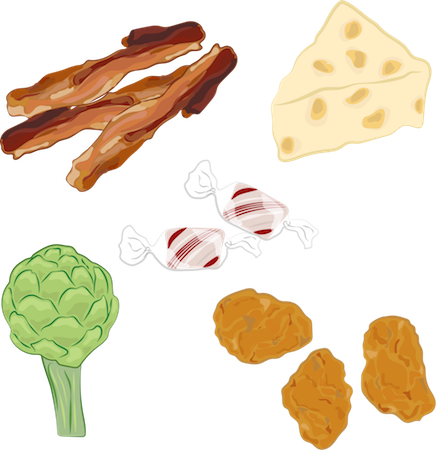 A drawing of bacon, swiss cheese, peppermint candy, artichoke and chicken nuggets