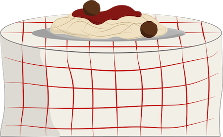 A round table with a white with red checkered table cloth and a plate of spaghetti and meatballs on top