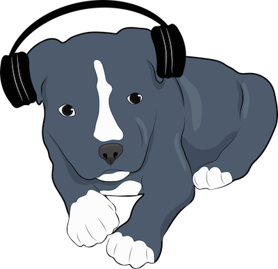 A drawing of a gray puppy with a white blaze and white tipped paws laying down wearing headphones