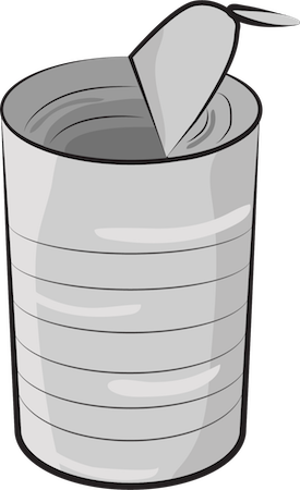 A drawing of a silver tin can with the top bent up