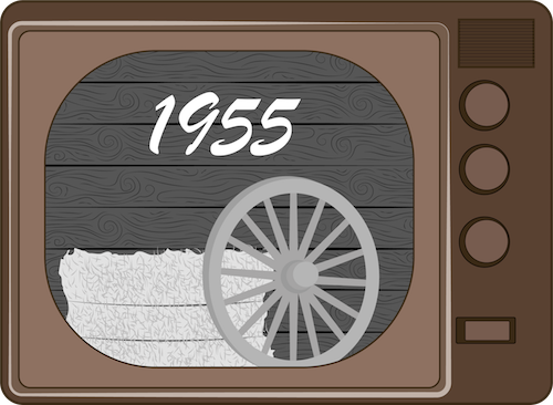 A drawing of an old brown tube TV with 1955 and a wagon wheel leaning against a bail of hay on the screen