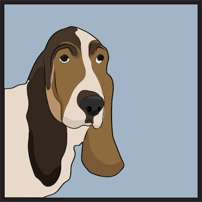Head shot drawing of a tricolor hound dog with very long ears, droopy eyes and a big black nose with a blue background