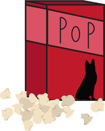 A red box with a black dog and the words POP on the front with popcorn laying in front of the box
