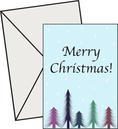 A blue card with colorful pine trees that says Merry Christmas with a gray envelope behind it