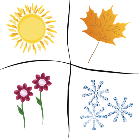 A drawing of four corners representing the seasons of the sun, a fall orange leaf, pink flowers and snow flakes
