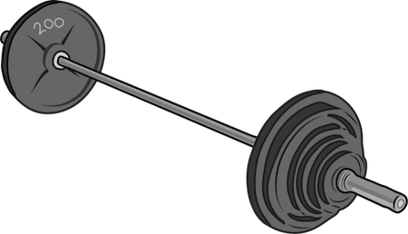 A barbell with 200 pound weights on each end