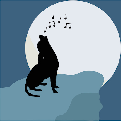 Drawing of a dog out on a ledge singing to the large moon in the distance