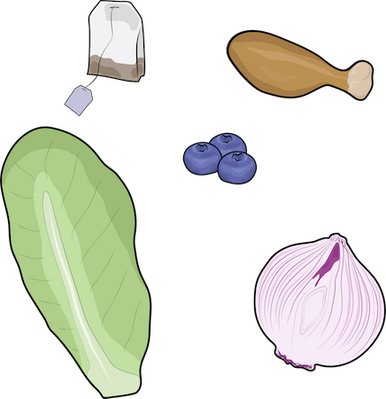 A tea bag, chicken leg, blueberries, stalk of lettuce and garlic