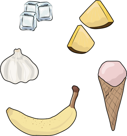A drawing of ice cubes, pineapple, garlic, ice cream cone and a banana