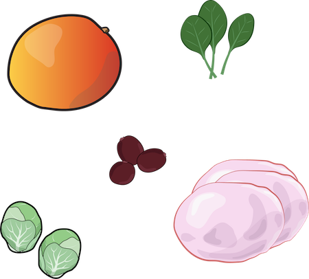 A drawing if a peach, spinach, beans, brussel sprouts and pink cabbage