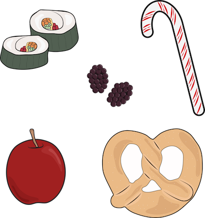 A drawing of sushi candy cane, peppermint, raspberries, apple and soft pretzel