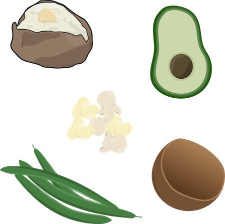 A drawing of a baked potato, avocado, popcorn, green beans and coconut shell