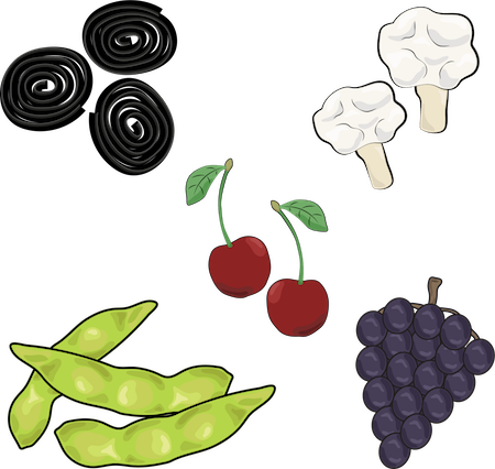 A drawing of black licorice, cauliflower, cherries, edamame and purple grapes