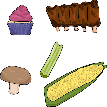 A drawing of a cup cake, BBQ ribs, celery, mushroom and an ear of corn