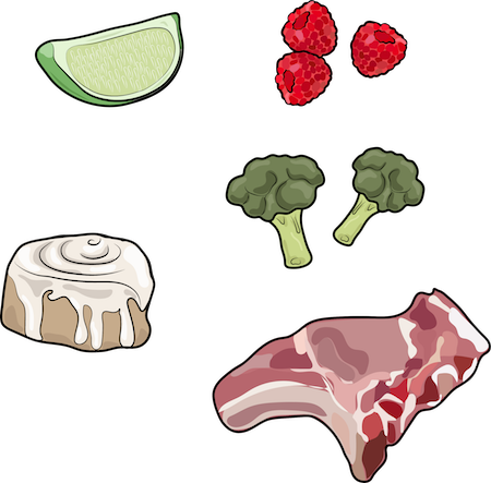 A drawing of lime, raspberries, broccoli, cinnamon bun, raw steak
