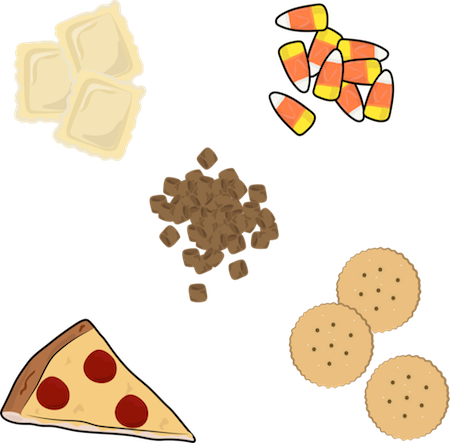 A drawing of ravioli, candy corn, dog food kibble, pizza and crackers
