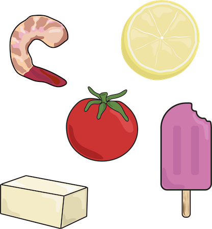 A drawing of a shrimp, lemon slice, tomato, stick of butter and popsicle