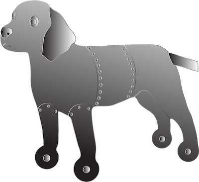 Side view of a tin can type robot dog standing