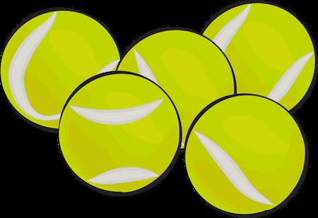 A drawing of 5 yellowish-green tennis balls