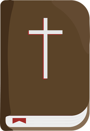 A brown bible with a white cross on the front
