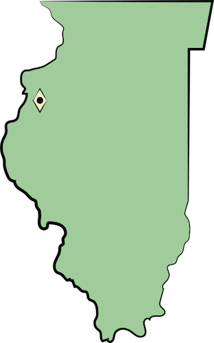 A map of Illinois with the city of Galesburg marked off