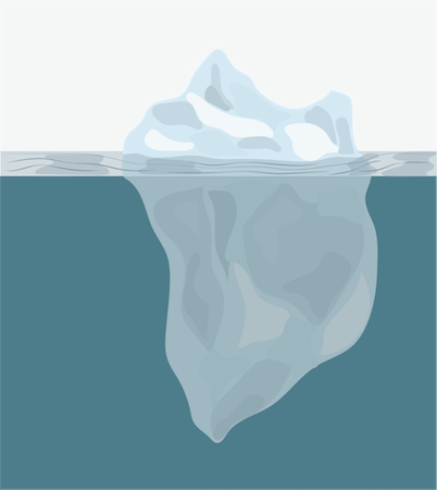 An iceberg floating in a large body of water