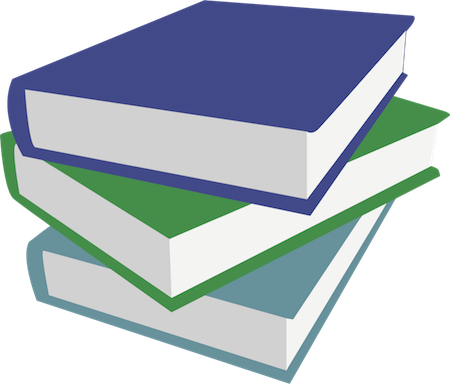 Three hard cover books in a pile, blue, green and baby blue in color