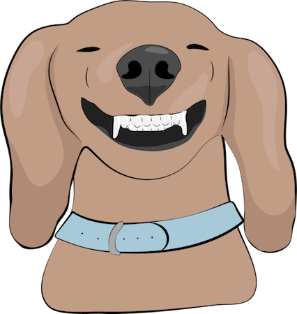 A drawing of a brown dog with long hanging ears smiling with a lot of white teeth showing with a big black nose and squinty eyes