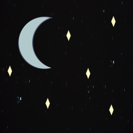 A drawing of the moon and stars in the sky at night