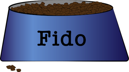 A blue dog bowl full of brown kibble with the name Fido on the front and a handful of kibble on the floor in front of the bowl