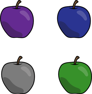 Four different color apples lined up in each corner of a square, purple, blue, gray and green