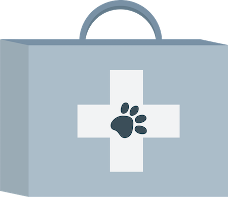 A blue medical kit with a paw print on the front if it