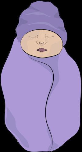 An infant baby wrapped in a purple blanket wearing a purple hat
