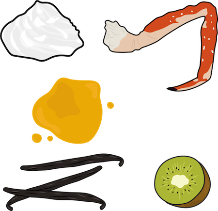 A picture of whipped cream, a crab leg, honey, vanilla beans and a kiwi