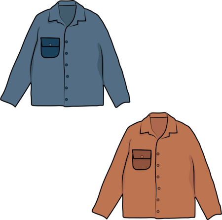 A drawing of a blue and a brown coat made for humans
