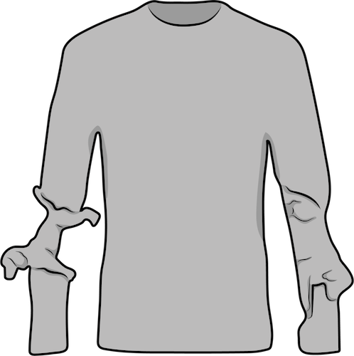 A gray long sleeve shirt with the arms shaped like dogs