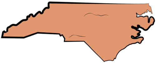 A map drawing of the state of North Carolina