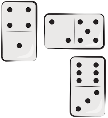A drawing of three white domino pieces with black dots on them