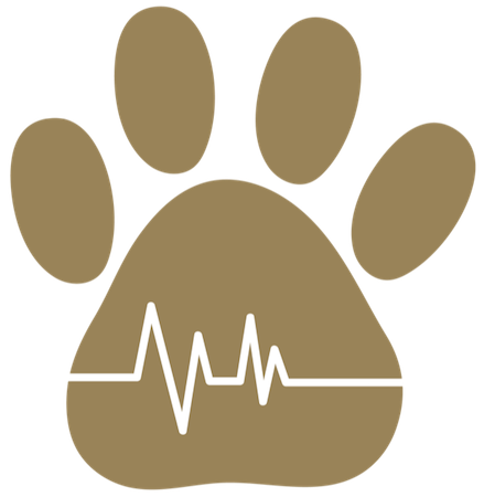 A brown paw print with a life line going through the middle of it