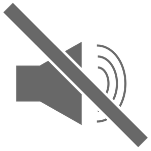 A sound icon with a line through it indicating silence
