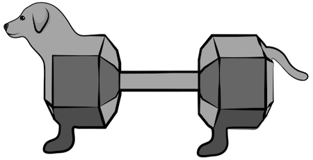 A dog with a silver bar bell as a body